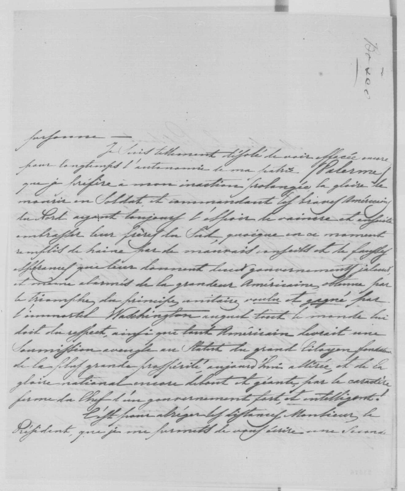 Ferdinand Beneventano de Bosco to Abraham Lincoln, Wednesday, May 20, 1863  (In French)