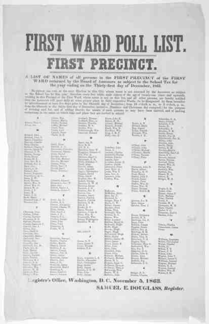 First ward poll list. First precinct. A list of names of all persons in the first precinct of the first ward returned by the Board of assessors as subject to the school tax for the year ending on the thirty-first day of December, 1863. Samuel E.
