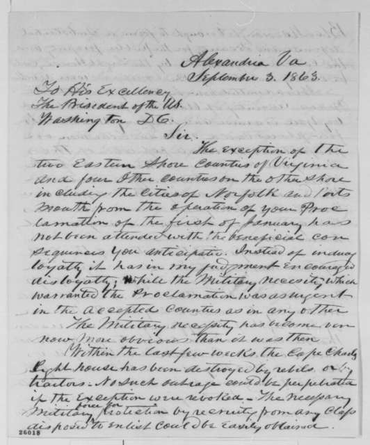 Francis H. Peirpoint to Abraham Lincoln, Thursday, September 03, 1863  (Counties in Virginia exempted from Emancipation Proclamation)