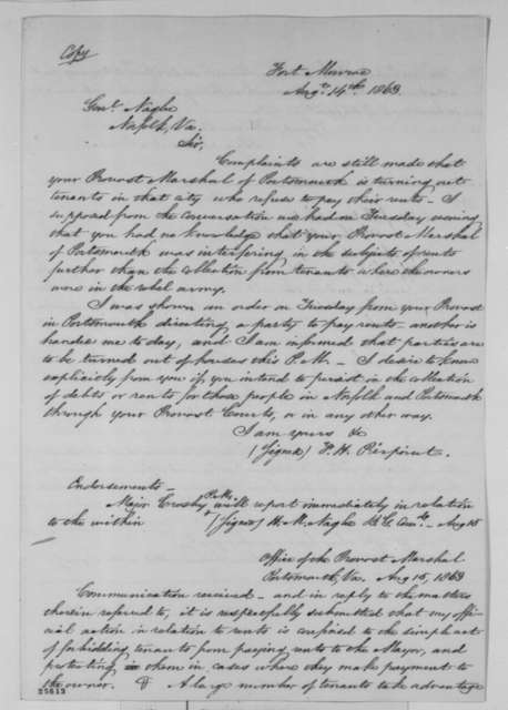 Francis H. Peirpoint to Henry M. Naglee, August 14-17, 1863  (Correspondence pertaining to the provost marshal at Portsmouth, Virginia; with copies of Hiram Crosby to Naglee, August 15, 1863; Naglee to Crosby, August 17, 1863 and other documents)
