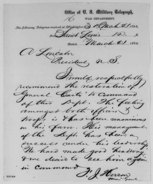 Francis J. Herron to Abraham Lincoln, Saturday, March 21, 1863  (Telegram recommending re-instatement of General Curtis)