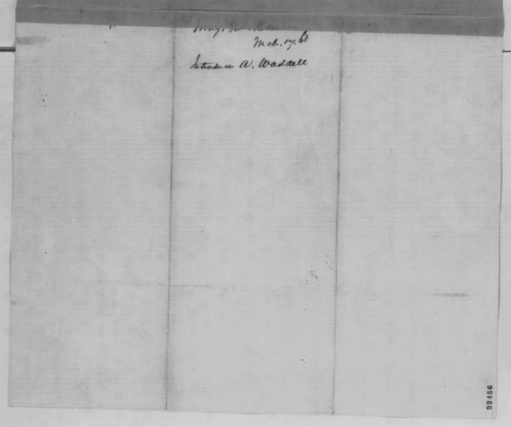 Francis J. Herron to Abraham Lincoln, Tuesday, March 17, 1863  (Introduces A. Waddell)