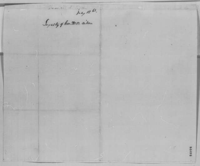 Francis L. Capen to Abraham Lincoln, Saturday, July 18, 1863  (Writes on behalf of William Aiken)