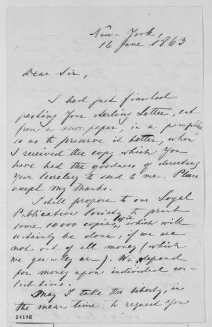 Francis Lieber to Abraham Lincoln, Tuesday, June 16, 1863  (Publication of Lincoln's letter to Erastus Corning)