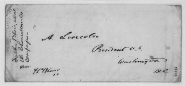 Francis P. Blair Sr. to Abraham Lincoln, Sunday, May 17, 1863  (Chancellorsville campaign and political affairs; cover endorsed by Lincoln)