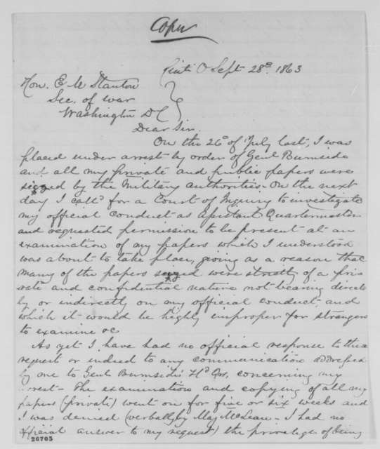 Francis W. Hurtt to Edwin M. Stanton, Monday, September 28, 1863  (Hurtt's conduct as quartermaster)
