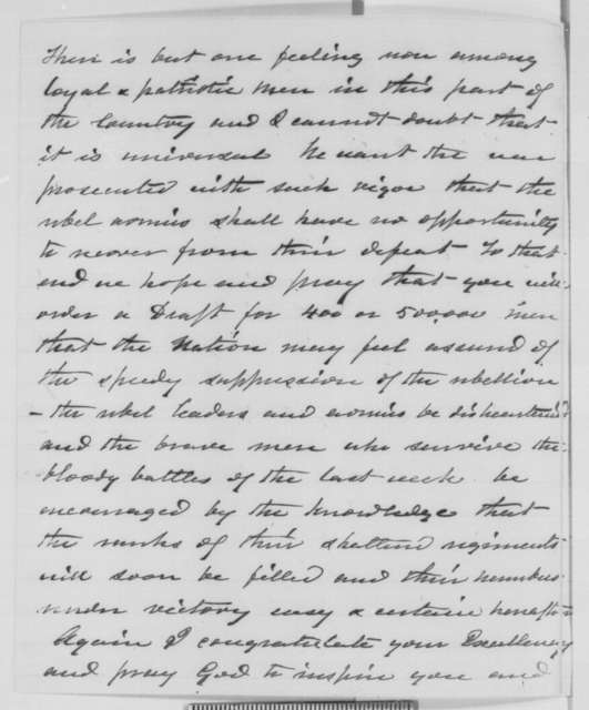 Francis W. Kellogg to Abraham Lincoln, Friday, July 10, 1863  (Congratulations for the recent victories)