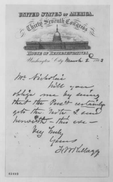 Francis W. Kellogg to John G. Nicolay, Monday, March 02, 1863  (Cover letter)