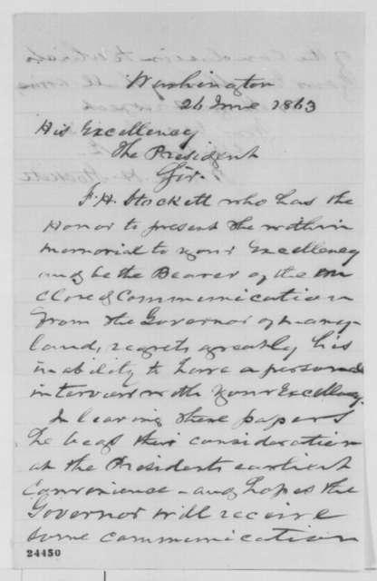 Frank H. Stockett to Abraham Lincoln, Friday, June 26, 1863  (Cover letter)