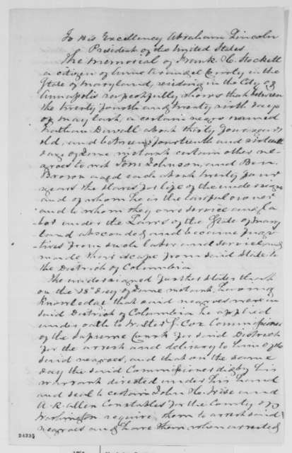 Frank H. Stockett to Abraham Lincoln, Monday, June 22, 1863  (Memorial seeking return of fugitive slaves)
