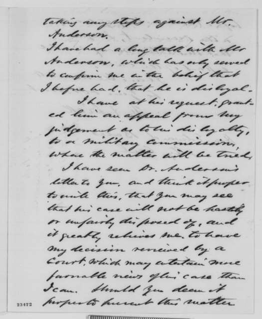 Franklin A. Dick to Edward Bates, Friday, May 15, 1863  (Loyalty of Reverend S. J. P. Anderson)