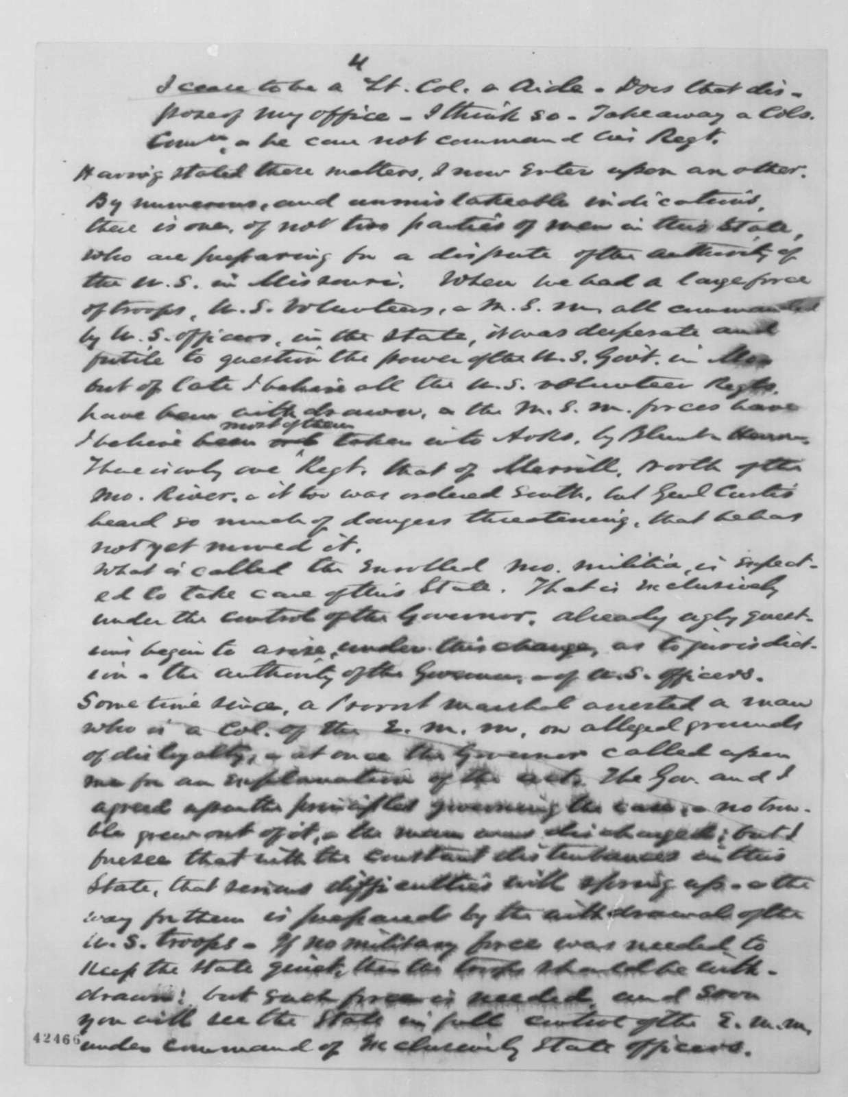 Franklin A. Dick to Montgomery Blair, Monday, January 26, 1863  (Affairs in Missouri; endorsed by Francis P. Blair Sr.)