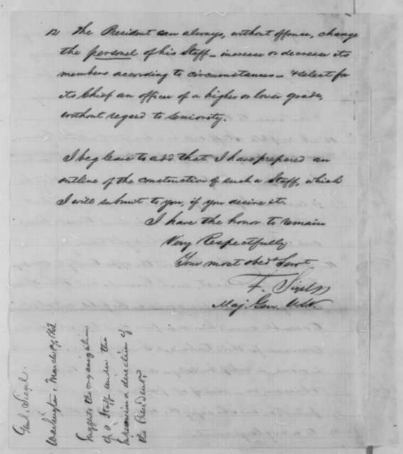 Franz Sigel to Abraham Lincoln, Tuesday, March 17, 1863  (Outlines plan for organization of executive staff)