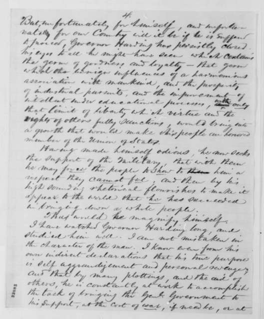 Frederick Cook to A. J. Clater, Monday, March 02, 1863  (Complains about Federal officials in Utah; endorsed by Milton Latham)