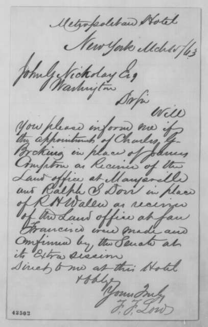 Frederick F. Low to John G. Nicolay, Sunday, March 15, 1863  (Appointment)