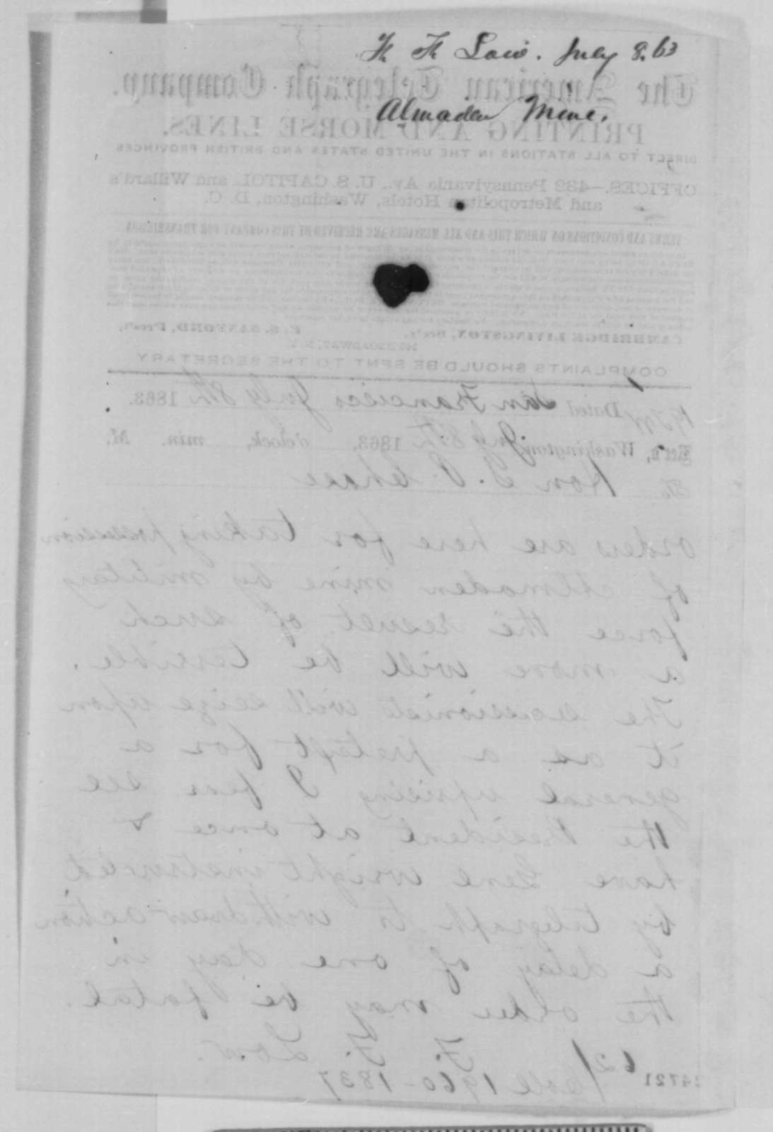 Frederick F. Low to Salmon P. Chase, Wednesday, July 08, 1863  (Telegram concerning occupation of New Almaden mine)