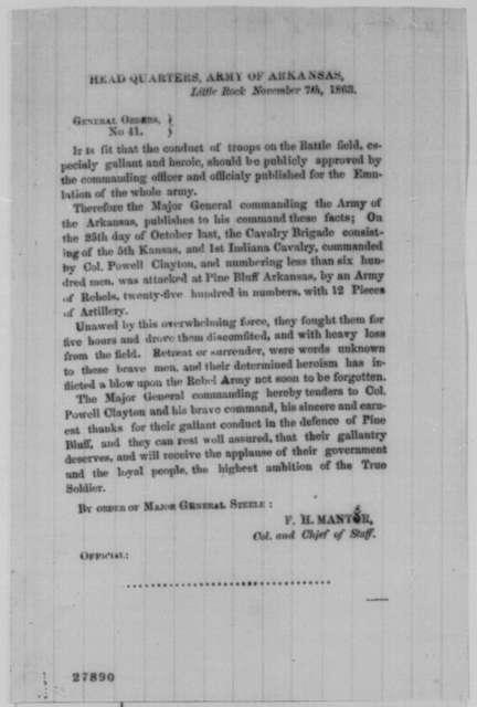 Frederick Steele, Saturday, November 07, 1863  (Printed general orders)