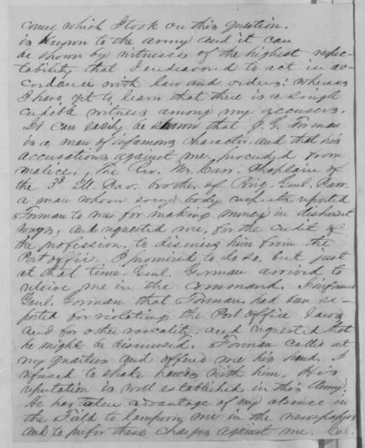 Frederick Steele to Abraham Lincoln, Sunday, February 15, 1863  (Explains his conduct in response to Lincoln's letter of Jan. 22)