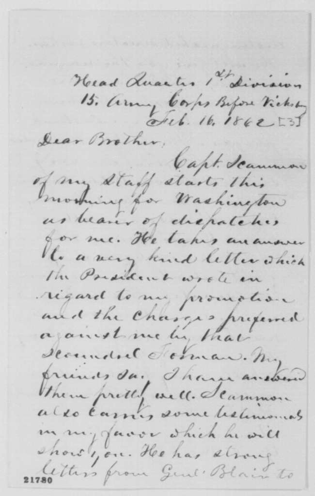 Frederick Steele to John B. Steele, Monday, February 16, 1863  (Charges made against him by Jacob Forman)