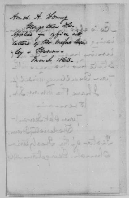 Frederick T. Brown to Abraham Lincoln, Friday, March 13, 1863  (Introduces Amos Young)