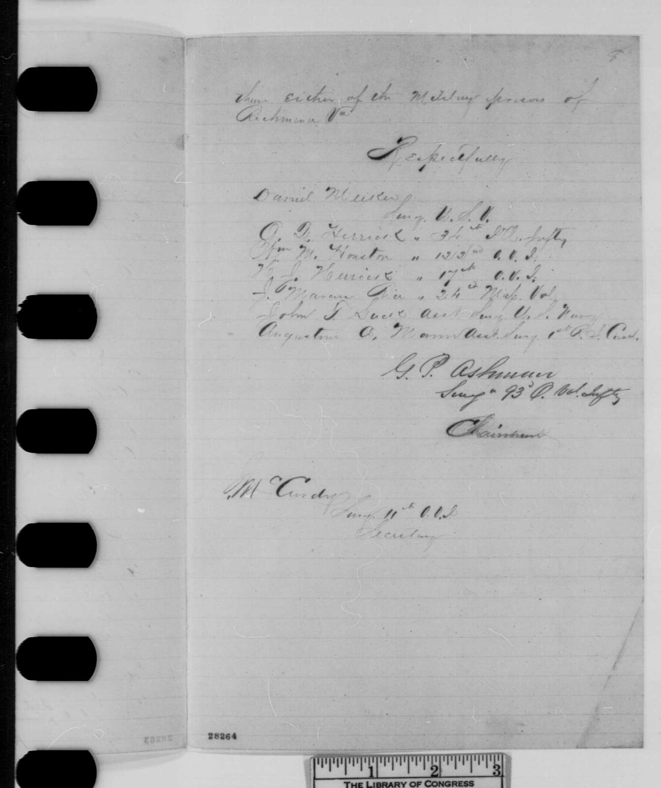 G. P. Ashmun, et al., Thursday, November 26, 1863  (Resolutions and report from surgeons held as prisoners of war)