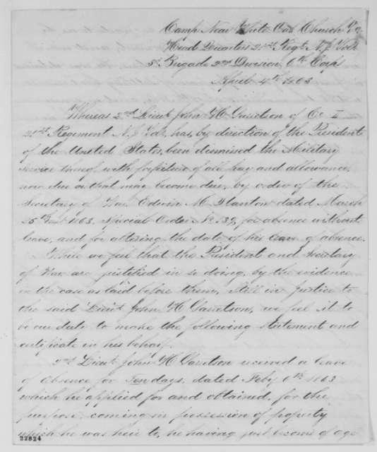 G. Van Houten, H. Van Buskirk, and Isaac S. Mettles to Abraham Lincoln, Saturday, April 04, 1863  (Write on behalf of John H. Garretson)