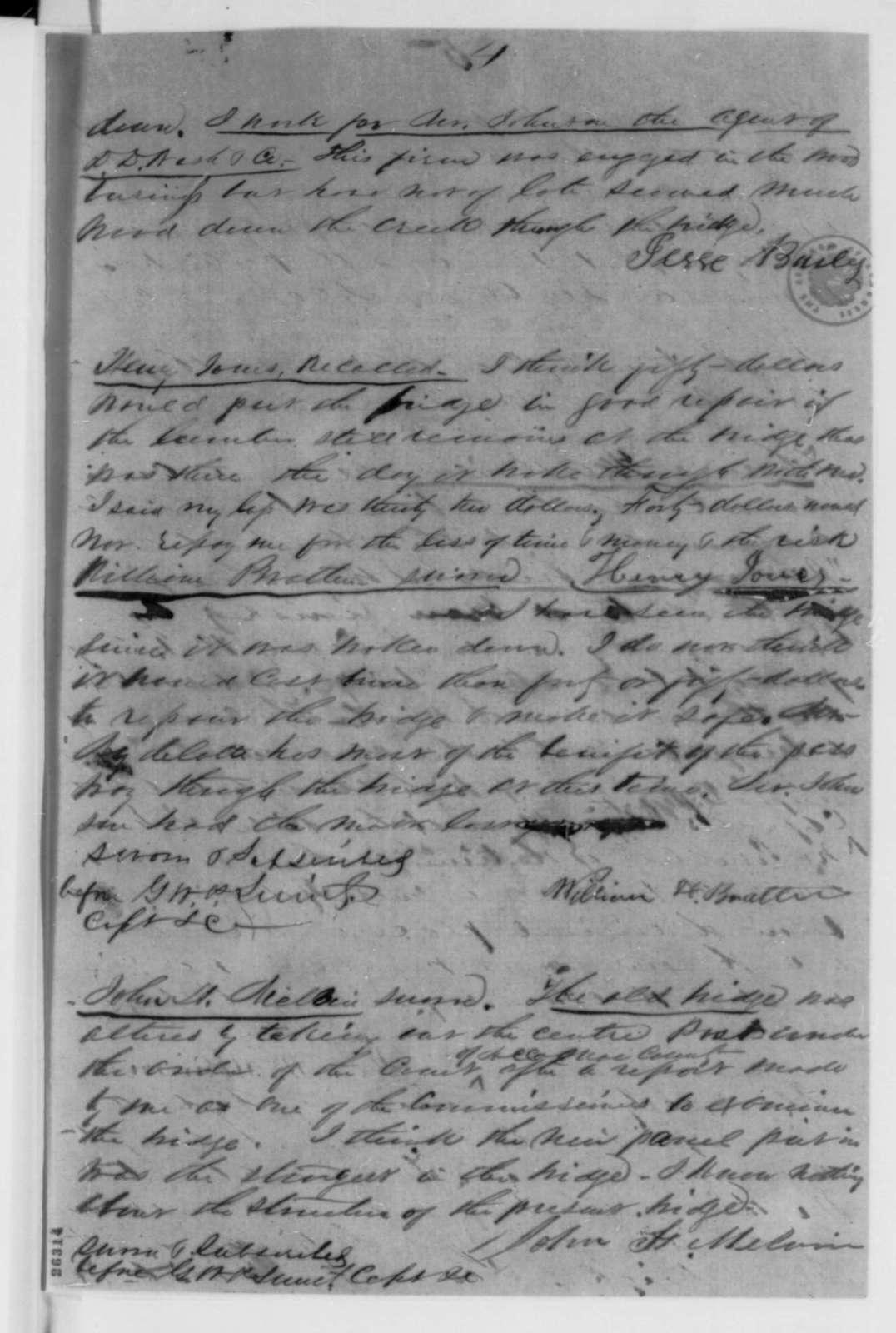 G. W. P. Smith, Wednesday, September 16, 1863  (Report and affidavits concerning Swan's Gut Bridge; endorsed by John E. Graham)