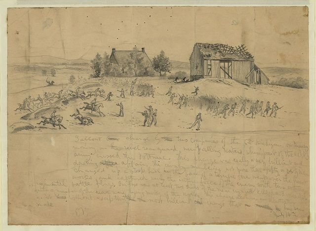 Gallant charge by two companies of the 6th Michigan on Tuesday morning on the rebel rearguard, near Falling Waters, where part of the rebel army crossed the Potomac