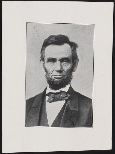 [Gardner photograph of Lincoln' head-and-shoulders portrait, facing front.]