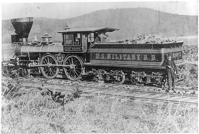 """[""""Gen. Haupt"""" locomotive, used by Gen. Herman Haupt during the Civil War (1861-1865)]"""