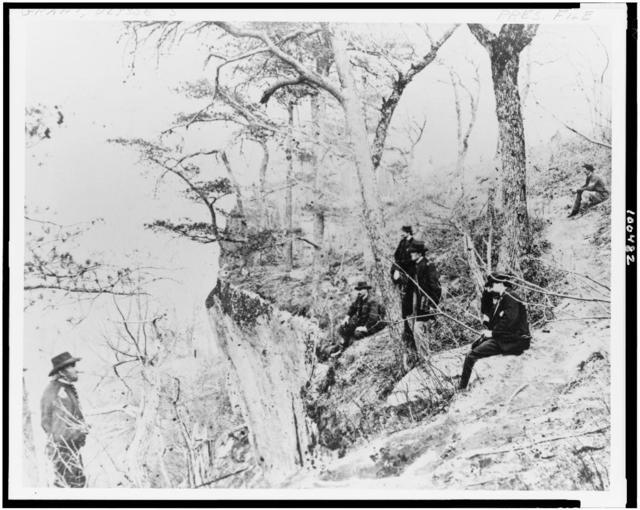 [General Ulysses S. Grant and five other men on Lookout Mountain, Tennessee]