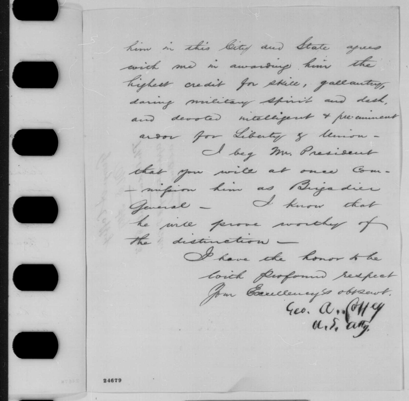 George A. Coffey to Abraham Lincoln, Sunday, July 05, 1863  (Recommends Charles H.T. Collis for brigadier general)