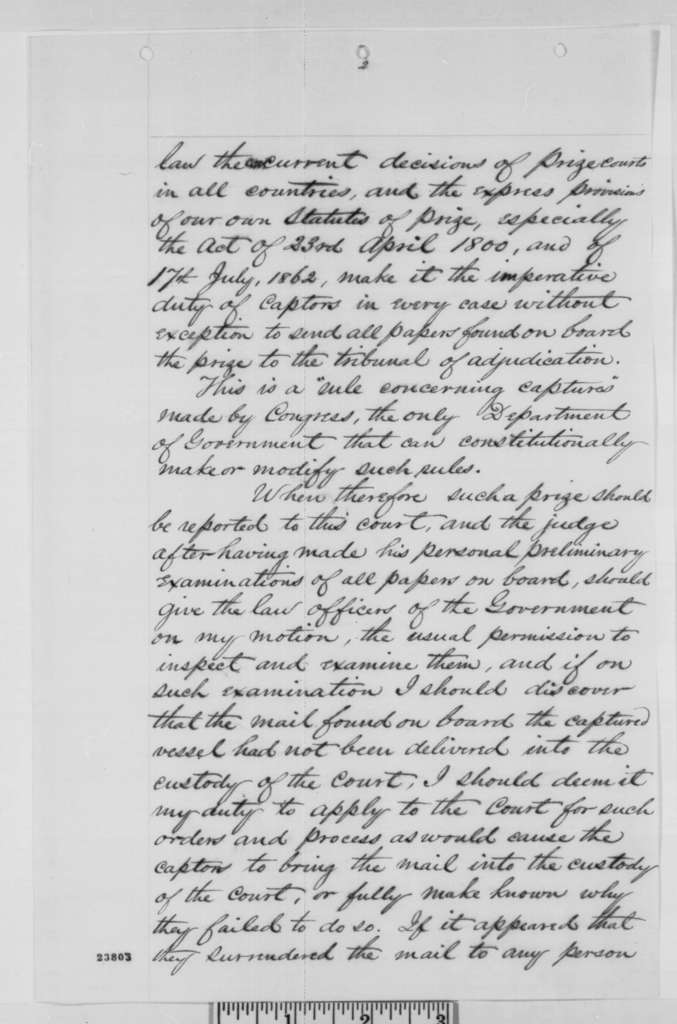 George A. Coffey to Gideon Welles, Monday, June 01, 1863  (Prize cases in Pennsylvania)