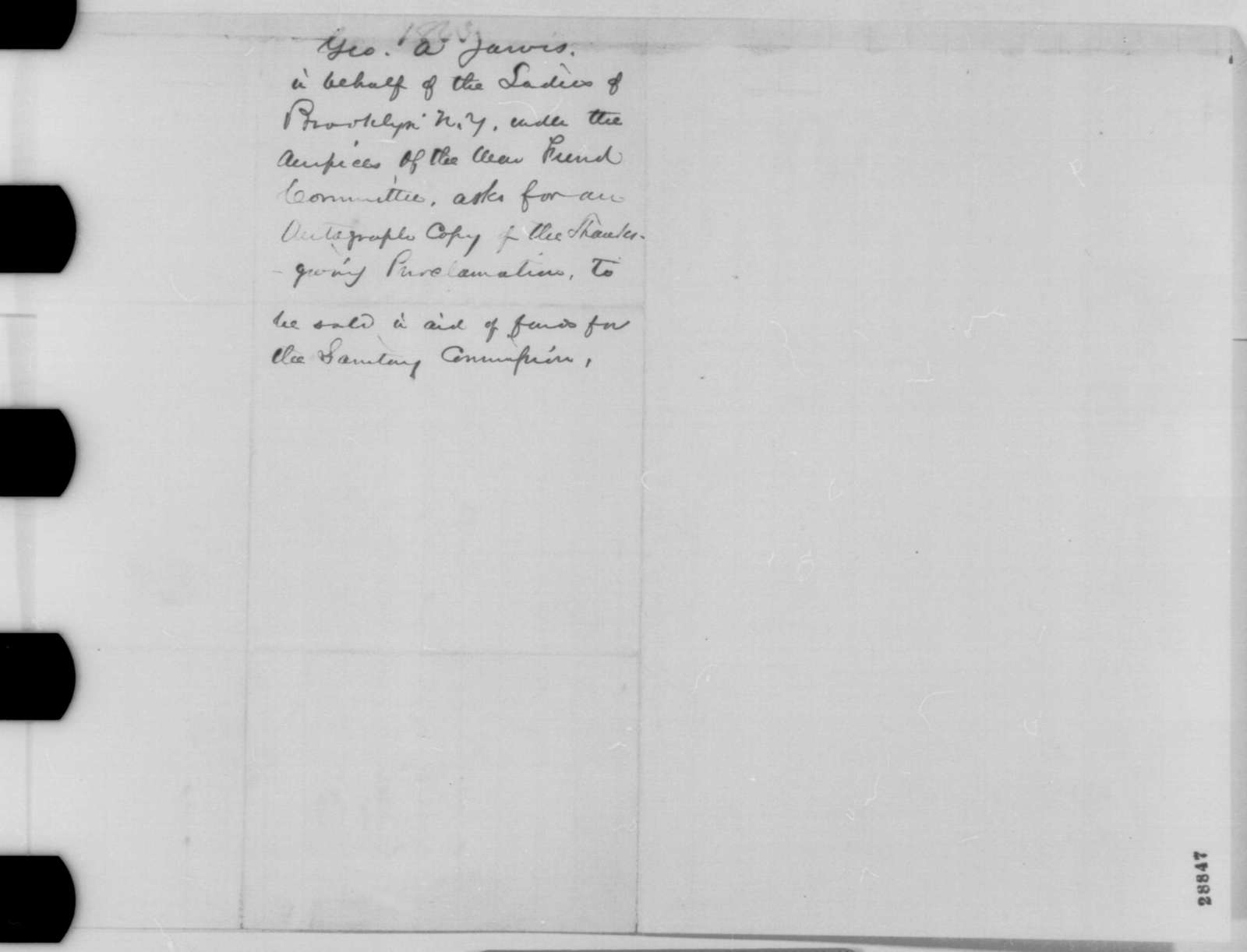 George A. Jarvis to Abraham Lincoln, Tuesday, December 22, 1863  (Requests manuscript for Brooklyn War Fund Committee)