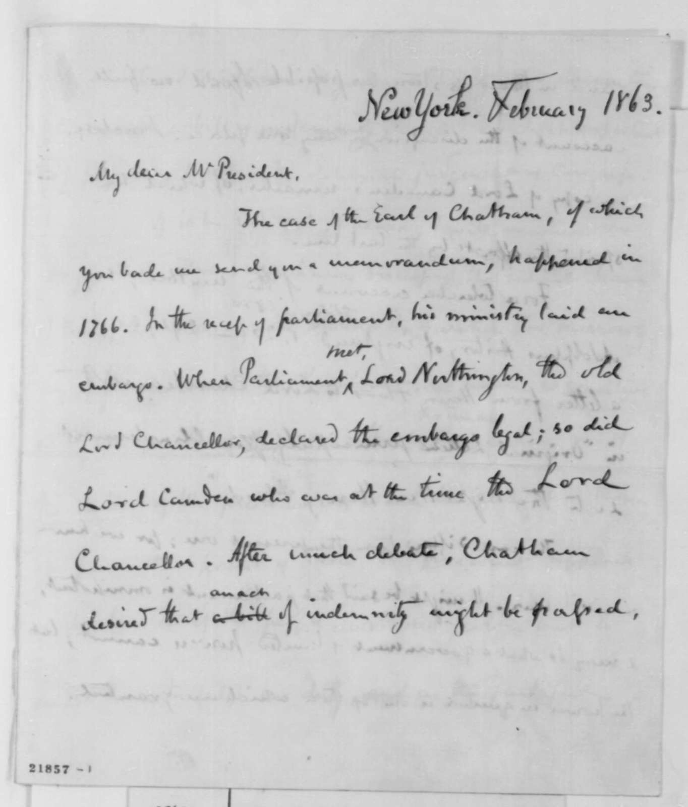 George Bancroft to Abraham Lincoln, February 1863  (Presidential power)