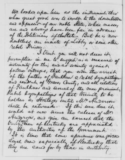 George D. Blakey to Abraham Lincoln, Saturday, November 14, 1863  (Military affairs in Kentucky)