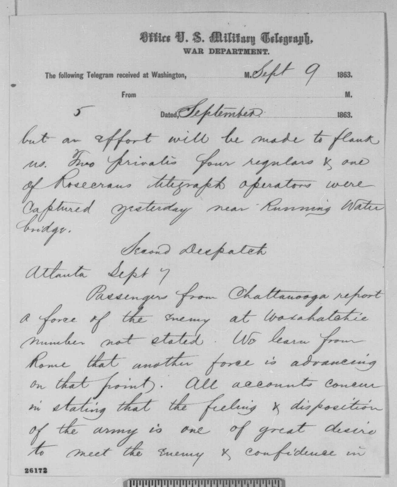 George D. Sheldon to Thomas T. Eckert, Wednesday, September 09, 1863  (Telegram reporting news from the Richmond papers)