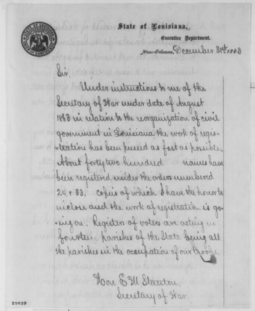 George F. Shepley to Edwin M. Stanton, Thursday, December 31, 1863  (Restoration of civil government in Louisiana)