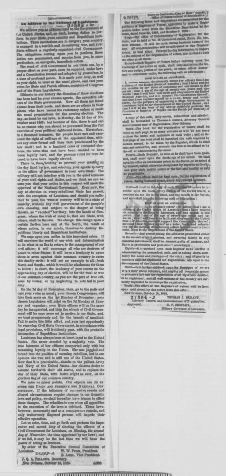 George F. Shepley to Edwin M. Stanton, Thursday, October 29, 1863  (Affairs in Louisiana)