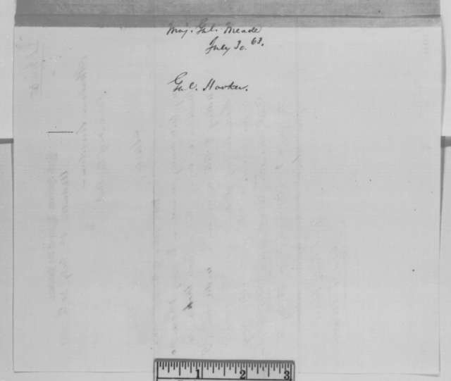 George G. Meade to Abraham Lincoln, Thursday, July 30, 1863  (Command for General Hooker)