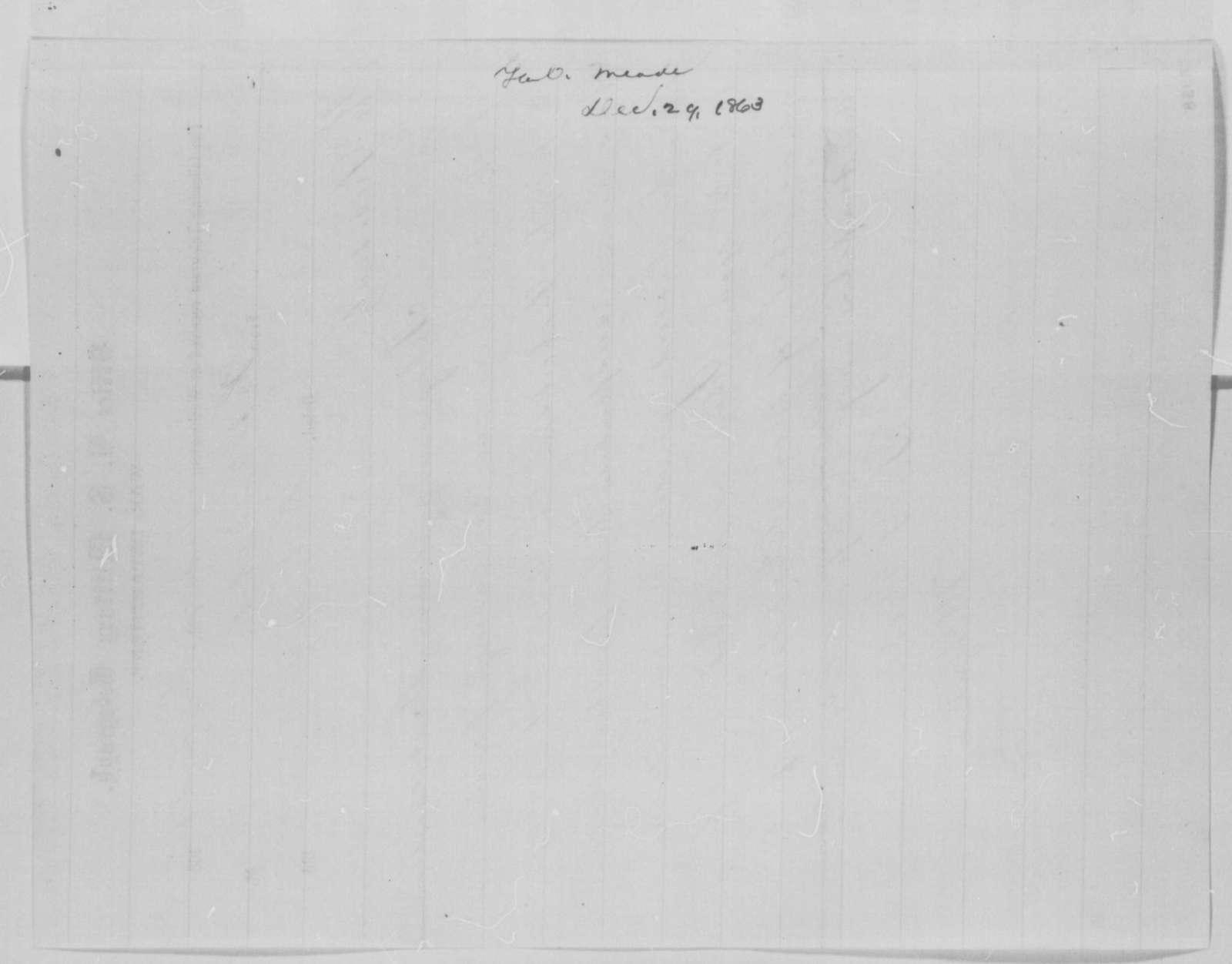 George G. Meade to Abraham Lincoln, Tuesday, December 29, 1863  (Telegram concerning case of Joseph Richardson)