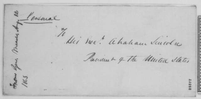 George G. Meade to Abraham Lincoln, Wednesday, August 12, 1863  (Reply to Lincoln's letter of August 11 concerning General Hooker)