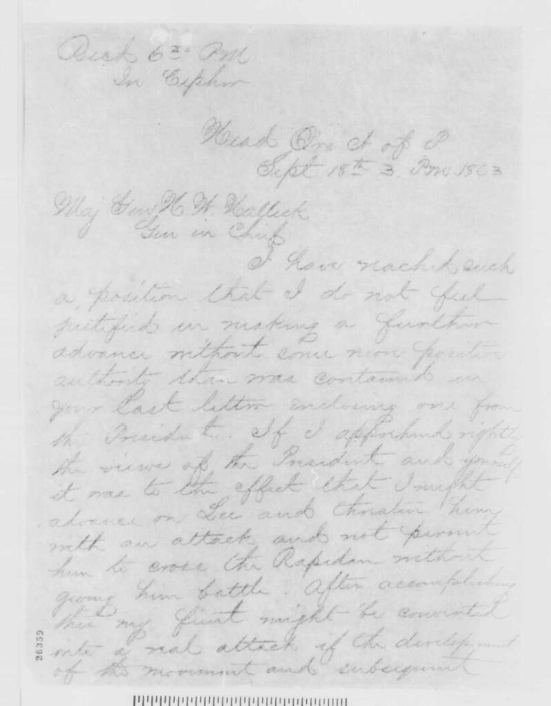 George G. Meade to Henry W. Halleck, Friday, September 18, 1863  (Telegram concerning military affairs)