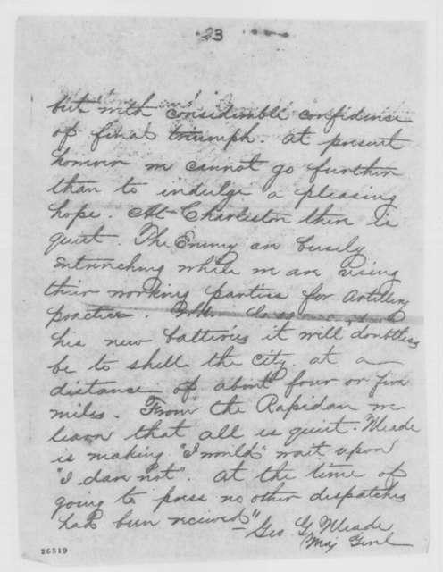 George G. Meade to Henry W. Halleck, Wednesday, September 23, 1863  (Telegram reporting news from Richmond papers)