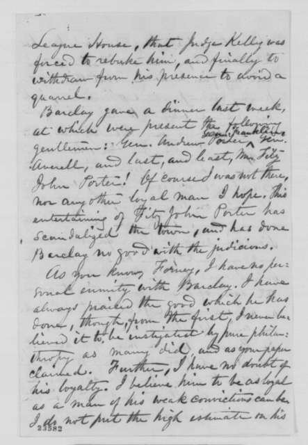 George H. Boker to John W. Forney, Wednesday, May 20, 1863  (General Hooker's incompetence)