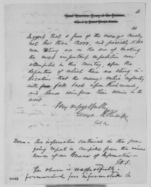 George H. Sharpe to Daniel Butterfield, Sunday, June 07, 1863  (Military intelligence; endorsed by Joseph Hooker to Lincoln)