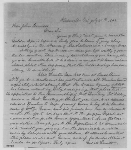 George McDenate to John Conness, Monday, July 20, 1863  (Recommendation)