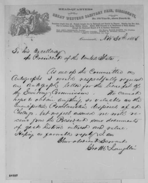 George McLaughlin to Abraham Lincoln, Monday, November 30, 1863  (Requests autograph letter for a sanitary fair)