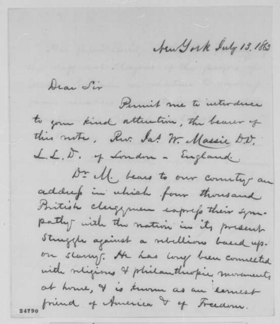 George Opdyke to Abraham Lincoln, Monday, July 13, 1863  (Introduces James Massie)