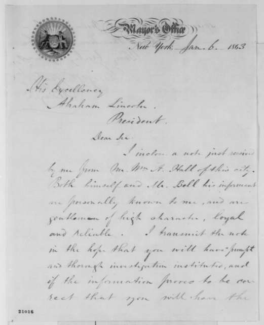 George Opdyke to Abraham Lincoln, Tuesday, January 06, 1863  (Cover letter)